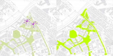 Access to plazas and Green space